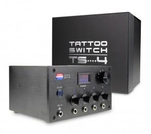 Tattoo Switch Voeding Met 4 Uitgangen - (TS4 Zwart)