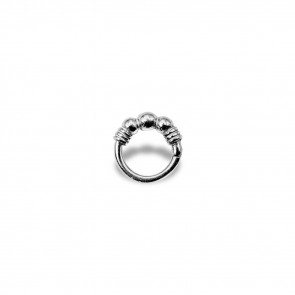 (07) Segment Ring 3 Balls - Edelstaal - Dikte 1,2 mm / Ø 6 mm