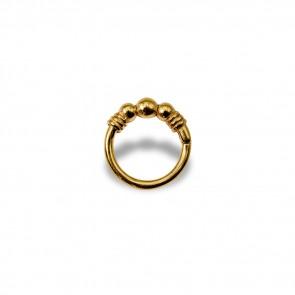 (17) Segment Ring 3 Balls Gold - PVD Goud - Dikte 1,2 mm / Ø 8 mm