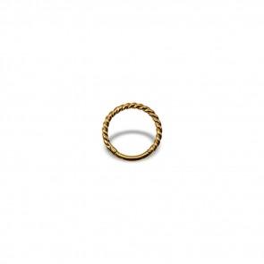 (19) Segment Ring Clicker Twisted Wire Goud  - PVD Goud - Dikte 1,2 mm / Ø 8 mm