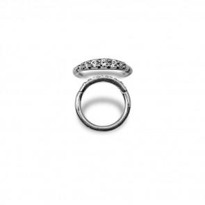 (22) Segment Ring Clicker Pavé Swarovski 5 Wit - Edelstaal - Dikte 1,2 mm / Ø 8 mm