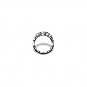 (23) Segment Ring Clicker Pavé Zirconia 5 Wit - Edelstaal - Dikte 1,2 mm / Ø 8 mm