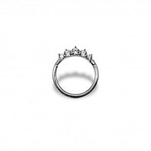 (26) Segment Ring Clicker Chaton Zirconia 5 Wit - Edelstaal - Dikte 1,2 mm / Ø 10 mm