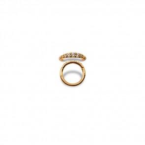 (31) Segment Ring Clicker Pavé Goud Swarovski 5 Wit - PVD Goud - Dikte 1,2 mm / Ø 6 mm