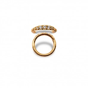 (32) Segment Ring Clicker Pavé Goud Swarovski 5 Wit - PVD Goud - Dikte 1,2 mm / Ø 8 mm