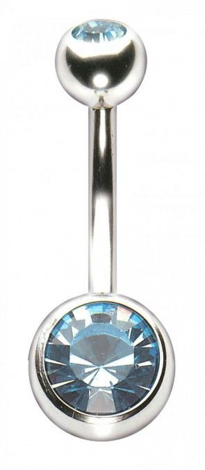 Stainless Steel Double Jewelled Navel Bar