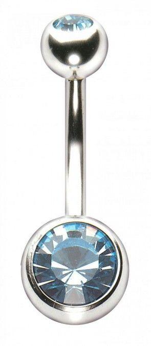 Polished Titanium Double Jewelled Navel Bar