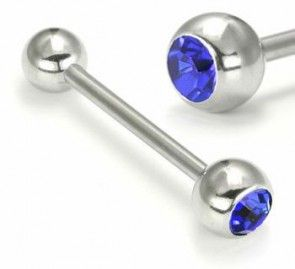 Polished Titanium Double Jewelled Barbell