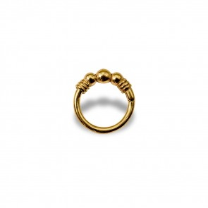(17) Segment Ring 3 Balls Gold - Gold plated - Thickness 1.2 mm / Ø 8 mm