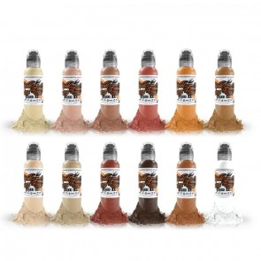 World Famous Ink - Skin Tone Set - 12 x 30 ml / 1 oz