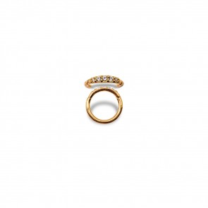 (31) Segment Ring Clicker Pave Gold Swarovski Zirconia 5 White - Gold Plated - Thickness 1.2 mm / Ø 6 mm