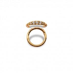 (32) Segment Ring Clicker Pave Gold Swarovski Zirconia 5 White - Gold Plated - Thickness 1.2 mm / Ø 8 mm